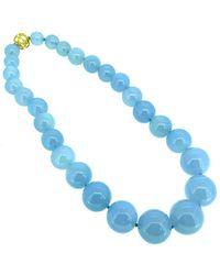 Arthur Marder Fine Jewelry Silver Chalcedony Necklace - Blue