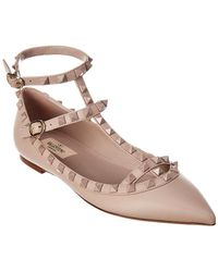 Valentino - Rockstud Double Ankle Strap Leather Ballerina Flat - Lyst
