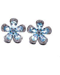 Arthur Marder Fine Jewelry Silver 0.80 Ct. Tw. Diamond & Blue Topaz Earrings