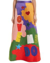 Alice + Olivia Ursula Gown Skirt - Red