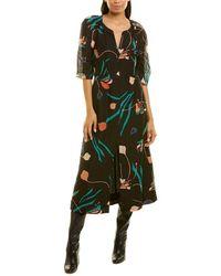 Rebecca Taylor Bloom Silk & Linen-blend Maxi Dress - Black