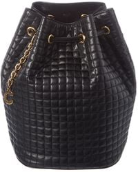 Céline Small C Charm Leather Bucket Backpack - Black