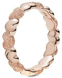 PANDORA Rose Matte Brilliance Heart Band Ring - Metallic