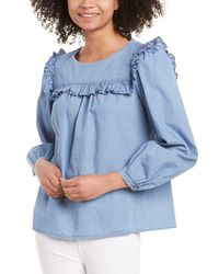 Sail To Sable Ruffle Front Top - Blue