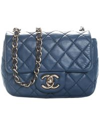 Chanel Blue Quilted Leather Half Flap Bag