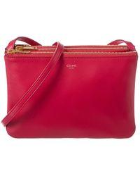 Céline Trio Leather Crossbody - Red