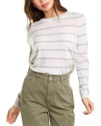 Vince Striped Wool & Cashmere-blend Sweater - White