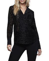 GOOD AMERICAN Sheer Bliss Velvet Pyjama Blouse - Black