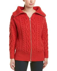 Self-Portrait Cable-knit Wool-blend Cardigan - Red