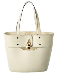 Chloé Aby Small Leather Tote - Natural