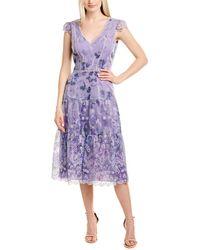 Marchesa notte Cap Sleeve Printed Eyelet Midi Dress - Purple