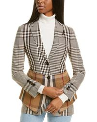 Burberry Basque Detail Check Wool-blend Blazer - Brown