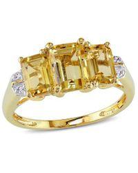 Rina Limor 10k 2.34 Ct. Tw. Diamond & Citrine Ring - Metallic