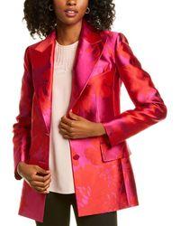 Carolina Herrera Jacquard Silk-blend Jacket - Red