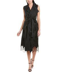 Jason Wu Belted Silk-lined Wool-blend Wrap Dress - Black
