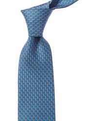 Ferragamo Blue Birds Silk Tie