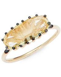 Suzanne Kalan - Lemon Quartz, Black Diamond & 14k Ring - Lyst