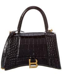 Balenciaga Hourglass Small Croc-embossed Leather Top Handle Shoulder Bag - Black