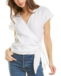Three Dots Gauze Wrap Kimono Top - White