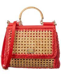 Dolce & Gabbana Sicily Raffia & Leather Shoulder Bag - Red