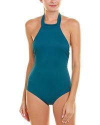 73041362fcae Lyst - Beach Riot Davis Deep V One Piece Swimsuit - Fiery Sienna ...