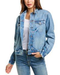Rag & Bone Shrunken Trucker Jean Jacket Classic Fit Mid Indigo Jacket - Blue