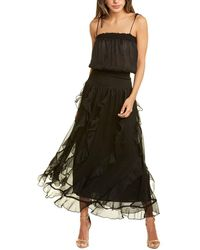 Traffic People Flounce And Frills Maxi Dress - Black