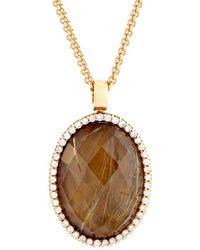 Roberto Coin 18k Rose Gold 0.40 Ct. Tw. Diamond & Smoky Quartz Necklace - Metallic