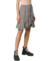 Ganni Gingham Print Wrap Mini Skirt - Black