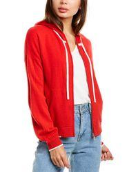 RAFFI Zip Front Cashmere Hoodie - Red