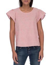 Bobeau Rae Ruffle Sleeve Top - Pink