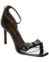 Saint Laurent Amber Bow 85 Patent Sandal - Black
