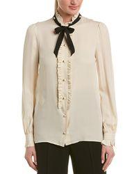 Gucci Ruffle Trim Silk Blouse - White
