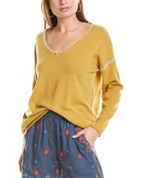 Johnny Was Whipstitch Cashmere Pullover - Yellow