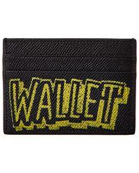 Balenciaga Ville Graffiti Leather Card Holder - Black