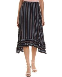 See By Chloé Striped Silk A-line Skirt - Black