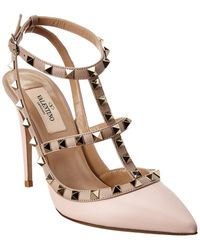 Valentino Rockstud Caged 100 Leather Ankle Strap Pump - Pink