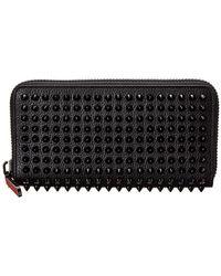 Christian Louboutin Panettone Studded Leather Zip Around Wallet - Black