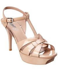 Saint Laurent Tribute Low Nude Sandals - Natural