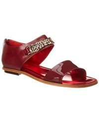 Tod's Leather & Patent Sandal - Red