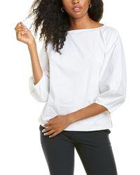 Carolina Herrera Bateau Neck Wide Sleeve Top - White