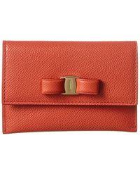 Ferragamo Vara Bow Leather Flap Card Case - Red
