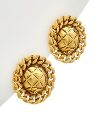 Chanel Gold-tone Quilted & Chain Earrings - Metallic