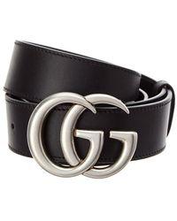 Gucci Double G Buckle Leather Belt - Black