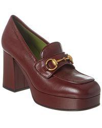 Gucci Horsebit Leather Platform Loafer - Red
