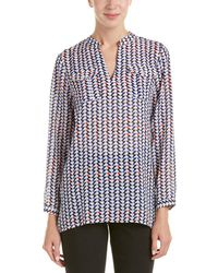 Vince Camuto Two By Vince Camtuo Geometric Print Top - Blue