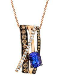 Le Vian 14k Rose Gold 1.97 Ct. Tw. Diamond & Tanzanite Pendant Necklace - Multicolour