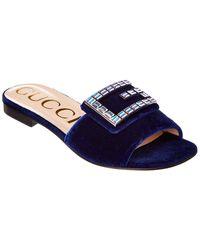Gucci Crystal G Velvet Slide - Blue