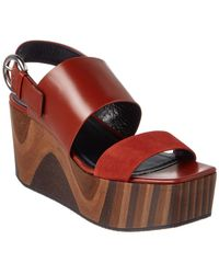 Céline - Céline Marbled Platform Leather Slingback Wedge - Lyst