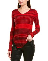Helmut Lang Striped Ribbed Wool And Cotton-blend Top - Red